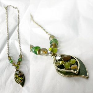 Kenneth Cole Green & Amber Pendant Leaves Necklace